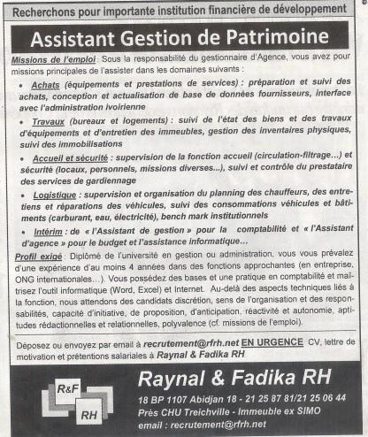 Offres & Opportunités: Importante institution financière recrute un Assistant de Gestion de Patrimoine