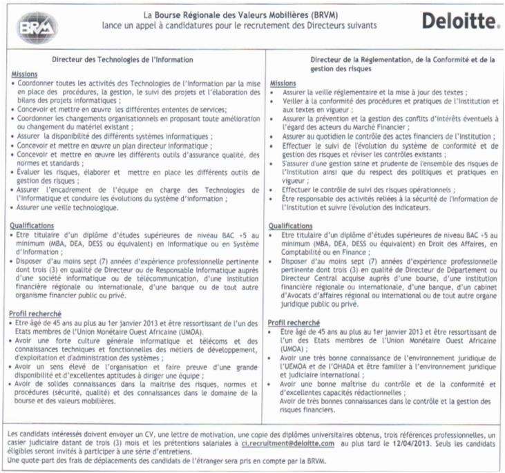 Offres & Opportunités: La BRVM (Bourse Régionale des Valeurs Mobilières) recrute...