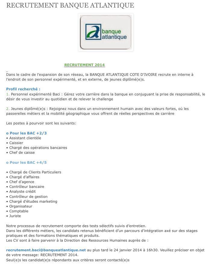 Offres & Opportunités: Recrutement à la Banque Atlantique...