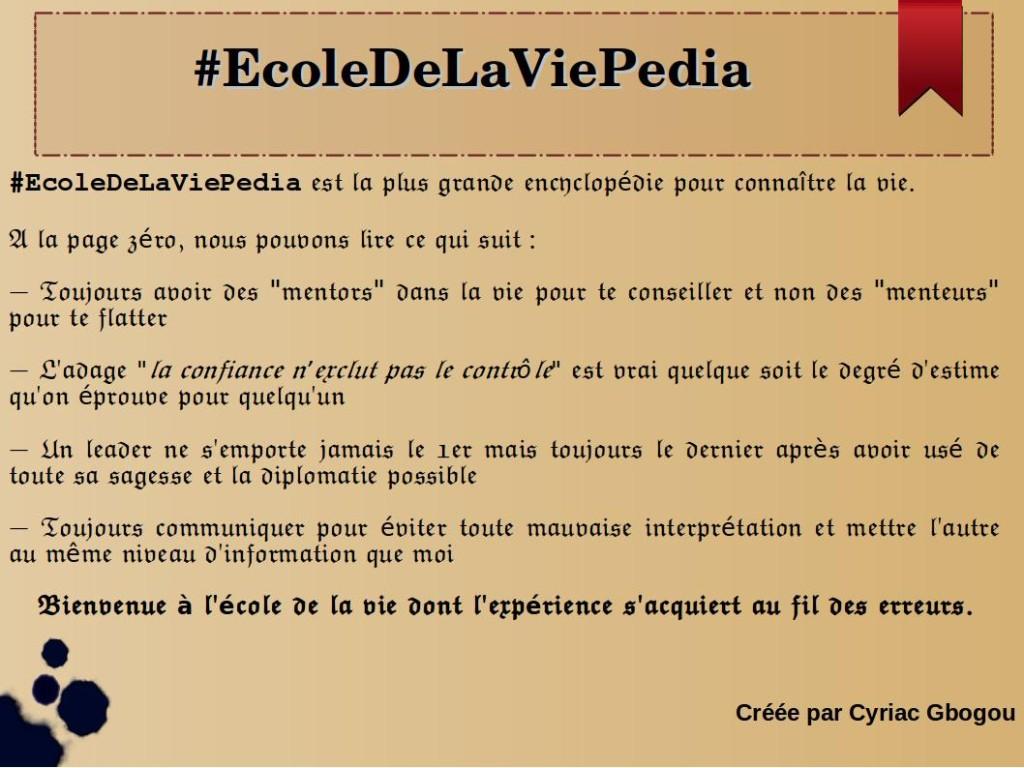 #EcoleDeLaViePedia by Cyriac Gbogou